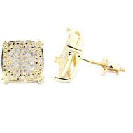 Mens Hip Hop Bling 10K Yellow Gold Diamond Earrings 9mm