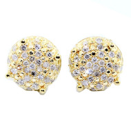 Mens Hip Hop 10K 1/4 cttw Yellow Gold Dice Cube Earrings