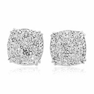 Mens .32CTTW Sterling Silver Diamond Earrings 9.5mm