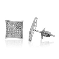 Mens Diamond Kite Sterling Silver 0.3cttw 7.6mm Earrings