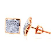10K Rose Gold Pave Set Diamond Dome Earrings 7.5mm