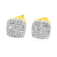 Mens 10K Yellow Gold 1/5 cttw Diamond Earrings Pave Set 7mm