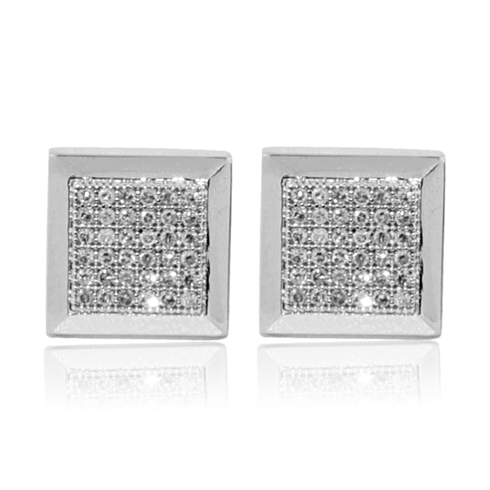 9mm 10K White Gold Pave Set Diamond Big Square Earrings Bling Jewelz