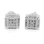 10K White Gold 0.18CTTW Diamond Stud Earrings 6.23mm