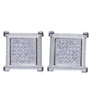 Mens Iced Out 14.5mm Cubic Zirconia Stud Earrings Sterling Silver