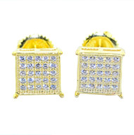 Mens 8mm Cubic Zirconia Stud Earrings Gold Over Sterling Silver