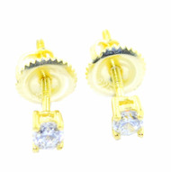 3.5MM Wide Cubic Zirconia Stud Earrings Gold Over Sterling Silver