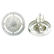 Mens 16mm Sterling Silver Large Round Iced Out Halo Earrings