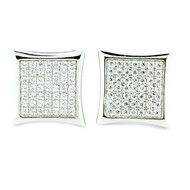 Mens 925 Sterling Silver Kite Iced Out Earrings 10.5mm Wide