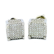 Mens Hip Hop 925 Sterling Silver 8mm Wide Cube shaped Earrings