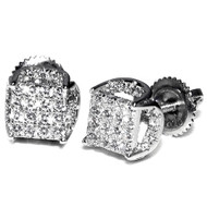 Silver Iced Out Screw Back 7.5mm Wide Micro Pave Set Earrings