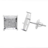 Mens 0.25ctw Diamond Micro Pave Square Stone Iced Out Earrings