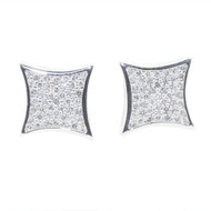 Mens 9mm Large 1/5ctw Diamonds Kite Earrings 925 Bling Earrings