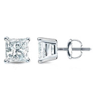 Mens 4 Prong Stud Earrings Princess Cut 1/5ctw Diamond 3mm