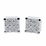 Diamond Earrings Cubes 0.15cttw Pave Set Sterling Silver 9.5mm