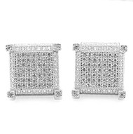 Bling Bling 12mm Sterling Silver Stud Cube Earrings Threaded Post