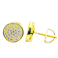 Mens Hip Hop 9.5MM Cz Stud Sterling Silver / Gold Earrings