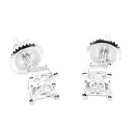5.5MM Wide Cz Stud Sterling Silver Bling Princess Cut Earrings