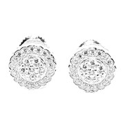 9MM Wide Cz Stud Sterling Silver Round Pave Bling Earrings