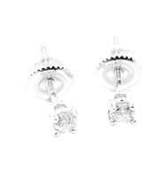3.5MM Wide CZ Round Stud Iced Out Earrings Sterling Silver