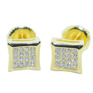 7MM Hip Hop CZ Stud Earrings Gold / Silver Pave Set Kite