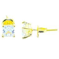5MM Wide Diamond Cz Bling Stud Earrings Princess Cut Gold