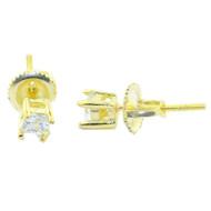 4.5MM Wide Cz Bling Studs Gold Tone Silver Princess Cut