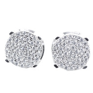 10MM Wide CZ Hip Hop Earrings Silver Round Pave