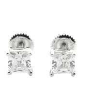 Bling Bling Round Cz Earrings 6.5MM Wide Stud Sterling Silver