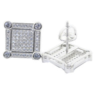 Iced Out 13MM Wide Cz Stone Stud 925 Square Earrings