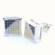 10MM Cz Kite Shaped Yellow Black White Hip Hop Earrings