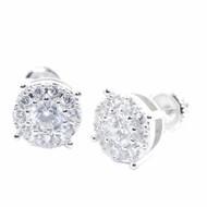 9.5MM Diamond Cz Stud 925 Sterling Silver Round Micro Pave Earrings