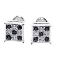 9MM Black White CZ Stone Hip Hop 925 Silver Earrings