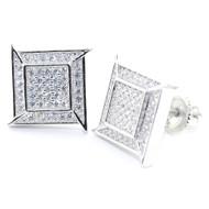 Mens Hip Hop 12MM Wide Diamond Cz Stud 925 Sterling Silver Earrings