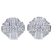 Mens 10.5MM Wide Diamond Cz Crossed Out .925 Sterling Silver Earrings