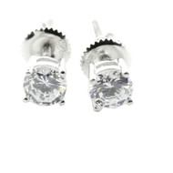 Mens 5.5 Diamond Cz Round Cut 925 Sterling Silver Bling Earrings
