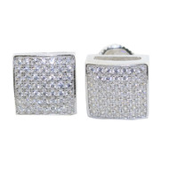 9.5MM Wide Cz Stone Hip Hop Square Micro Pave Set Earrings