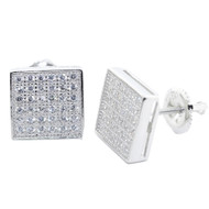Mens Clean Casual 9.5MM Wide Cz Square Bling Earrings