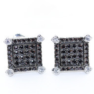 10.5MM Wide Black Stone Diamond Cz Iced Out Square Stud Micro-Pave Earrings