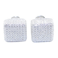 10.5MM Diamond Cz Stud Earrings 925 Sterling Silver Cube Hip Hop Earrings