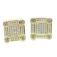 Mens 14k Gold 10.5MM Wide Diamond Cz Stud Earrings