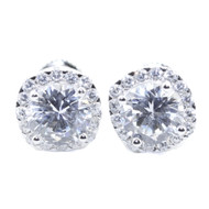 Mens 10MM Wide Cz Stud 925 Sterling Silver Round Shaped Bling Earrings