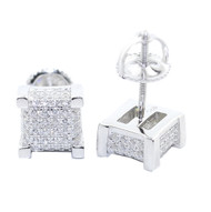 8MM Wide Cz Stud .925 Sterling Silver Cube Shaped Iced Out Earrings