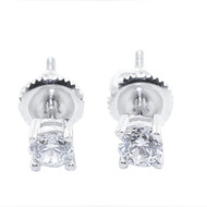 4MM Round Studs Iced Out Classic Earrings 925 Sterling Silver