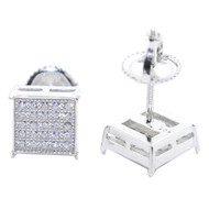Mens Bling 7.5MM Diamond Cz Stud 925 Silver Square Iced Out Earrings