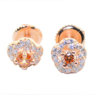 Mens Champagne / White CZ Earrings 7.5MM Wide Studs Sterling Silver