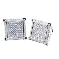 12.5MM Wide Cz Hip Hop Stud Earrings Sterling Silver Big Pave Set