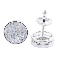 Iced Out Sterling Silver 9MM Wide Diamond Cz Stud Earrings