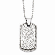 Stainless Steel Textured Polished Hip Hop Dog Tag Necklace
