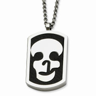 Titanium Skull Hip Hop Reversable Dog Tag 22in Chain Necklace